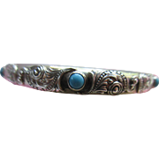 Antique Sterling Turquoise Bangle Bracelet By R. BLACKINTON  CO