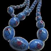 Vintage Blue Glass Beaded Necklace Pink Rose