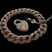 Antique Victorian Curbed Link Charm Bracelet Working Heart Padlock