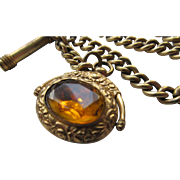 Antique Watch Chain with Jeweled Spinner Fob