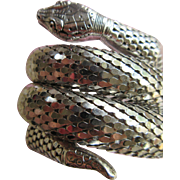 Whiting Davis Three Coil Mesh Snake Bracelet Silver Tones Mid Century