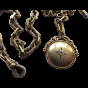 Victorian Watch Chain with Star Burst Fob Wedding Jewelry Mens Fashion