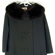 SALE Stunning Vintage Black Wool Jacket Coat with Black Fur Mink Collar