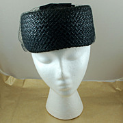 SALE Vintage Black Pill Box Pillbox Hat with Netting Bows