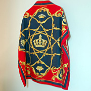 SALE Authentic Hermes Silk Scarf Crowns Couronnes Navy Red Gold