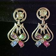 Kramer Pastel Color Rhinestone Dangle Earrings-Mint and Carded