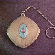 Vintage Compact with Guilloche Decoration and Finger Ring