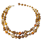 1960s Unique Amber Color Glass Bead and  Simulated Pearl Necklace