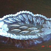 American Brilliant Period Crystal Wheel Cut Celery Dish