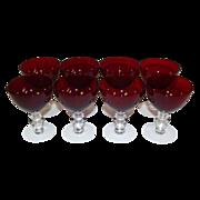 SOLD Duncan & Miller  Ruby Red Liquor Cocktail Stems Set of 8