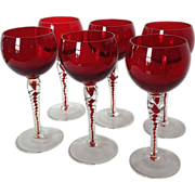 SOLD Ruby and Clear Twist Crystal Stemware Set of 6 Wine Stems