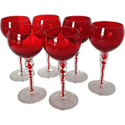 SOLD Ruby and Clear Twist Crystal Stemware Set of 6 Goblets