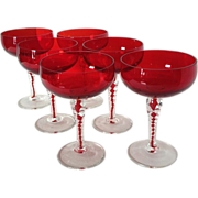 SOLD Ruby and Clear Twist Crystal Stemware Set of 6 Champagne / Sherbet