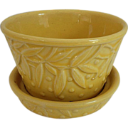SOLD McCoy Yellow Leaf and Hobnail Flower Pot