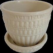 SOLD McCoy Ivory Beaded Flower Pot
