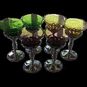 SOLD 6 Cambridge Glass Farberware Multi Colored & Chrome Wine Stems