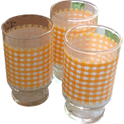 SOLD 1 Dozen Anchor Hocking Yellow Gingham Juice Glasses in Original Box