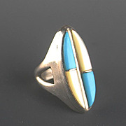 Sterling Silver Turquoise and Mother of Pearl Ring ca 1970's