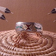 Vintage Navajo Indian Chip Inlay Bracelet ca 1970's