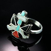 Zuni Channel Inlaid Knife Wing Ring ca 1970's