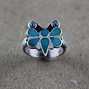 Zuni Channel Inlaid Butterfly ca 1970's