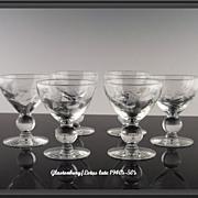 SALE Floral Cut Wine Glasses by Glastonbury/Lotus ca 1940's-50's