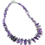 SALE Polished Amethyst Spear and Sterling Necklace