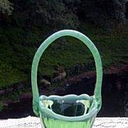 Pretty Green Opalescent Handled Basket