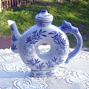 SALE Blue and White Chinese Donut Shaped Teapot