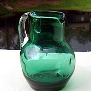 SALE Emerald Green Dimpled Miniature Pitcher ca 1960's