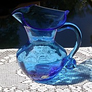 SALE Hand Blown Brilliant Blue Pitcher by Rainbow ca 1940's-60's