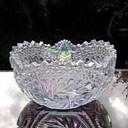 SOLD L.E. Smith White Carnival Bowl in Buzz Star Pattern ca 1960's