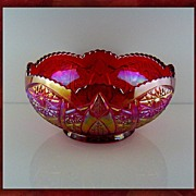 "SALE Indiana Glass Heritage 8"" Carnival Bowl Red/Sunset"