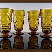 SALE Amber Tumblers in Whitehall Pattern ca 1960's