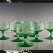 SALE Green Depression Low Sherbet Goblets by Tiffin/Franciscan ca 1930's