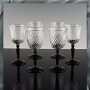 SALE Set of 6 Cordials in Onyx Pattern
