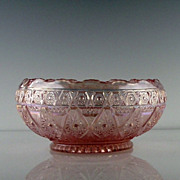 SALE Imperial Glass Pink Carnival Bowl in Lace Pattern ca 1978-82