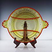 SALE Amberina Relish Platter ca 1972