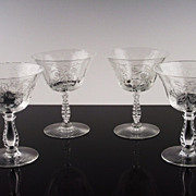 SALE Elegant Low Sherbet Glasses in Heather by Fostoria ca 1949-71