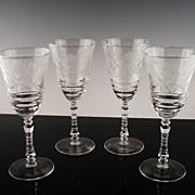 SALE Libbey Rock Sharpe Water/Large Wine Glasses ca 1940's