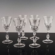 SALE Set of 6 Crystal Cordials in Capri Pattern
