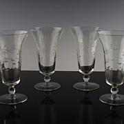 SALE Gray Cut Floral Tea Glasses