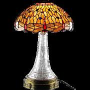 SALE American Brilliant Lamp in Flowers and Harvard Pattern ca 1900-1917