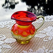 SALE Amberina Pitcher in Inverted Thumbprint