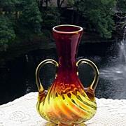 SOLD Stunning Blenko Amberina Double Handled Twisted Vase