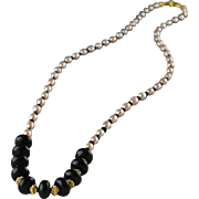 SALE Natural Black Onyx/Pink Pearl and Mystic Quartz Necklace With Gold Vermeil