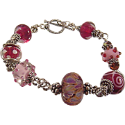 SALE Pampered in Pink: Hand Twisted Sterling Silver and Lampwork Bead Bracelet