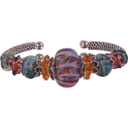 SALE Tahitian Sunrise: Hand Woven Sterling Silver and  Lampwork Beaded Bracelet