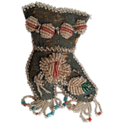 SALE Victorian Era Iroquois Beaded Whimsy Boot Sewing Pin Cushion
