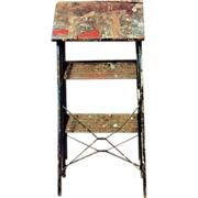 Rid Jid Space Saver Step Ladder J R Clark Co Industrial Metal Stool Thick Chippy Paint